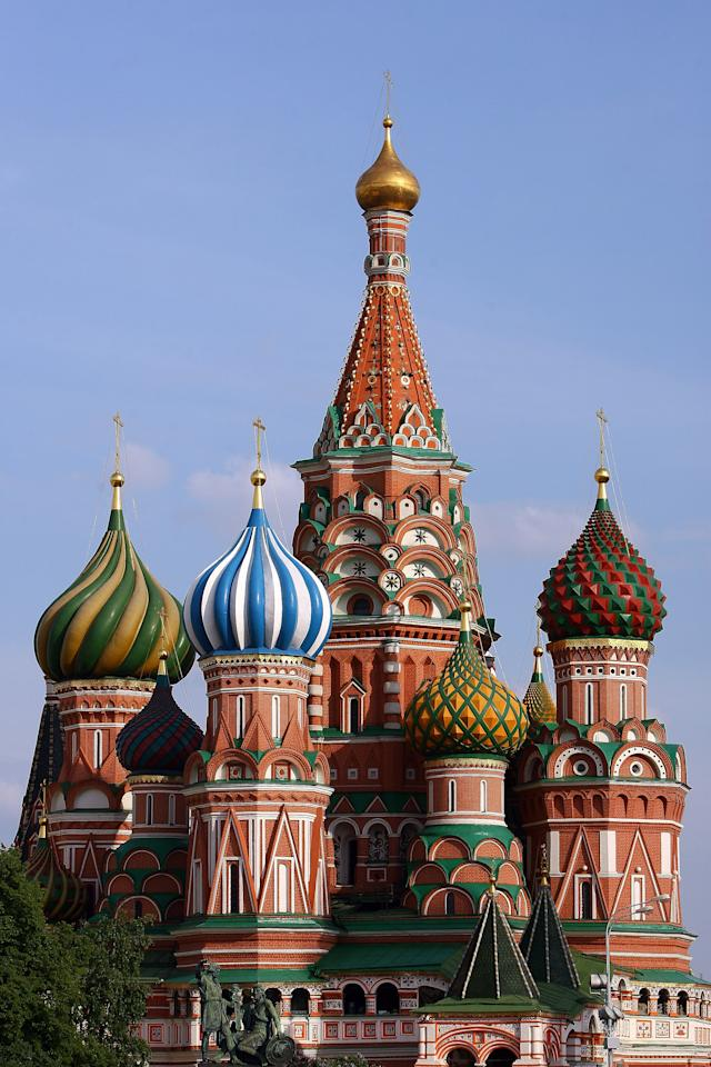 MOSCOW - MAY 18:  Cathedral of Saint Basil on the Red Square on May 18, 2008 in Moscow, Russia.  (Photo by Julian Finney/Getty Images)