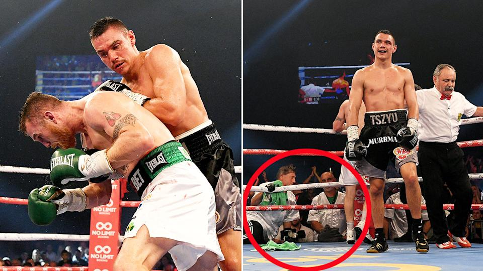 Pictured here, Dennis Hogan's trainer made the call to throw in the towel in the fifth round against Tim Tszyu.