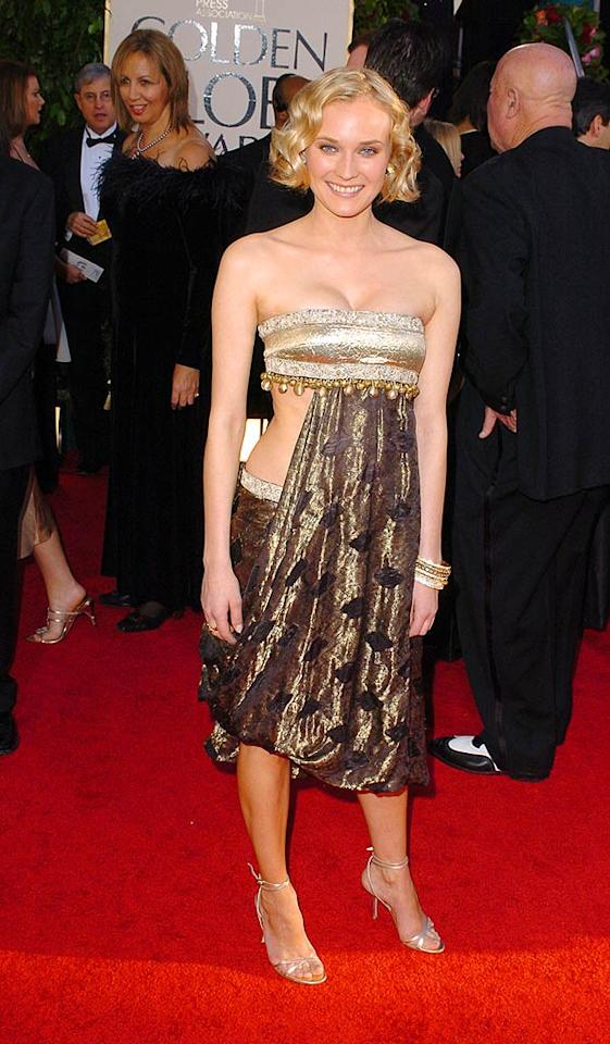 "Diane Kruger looks like she tucked the front of her skirt into her tube top in this horror from 2005. Steve Granitz/<a href=""http://www.wireimage.com"" target=""new"">WireImage.com</a> - January 16, 2005"