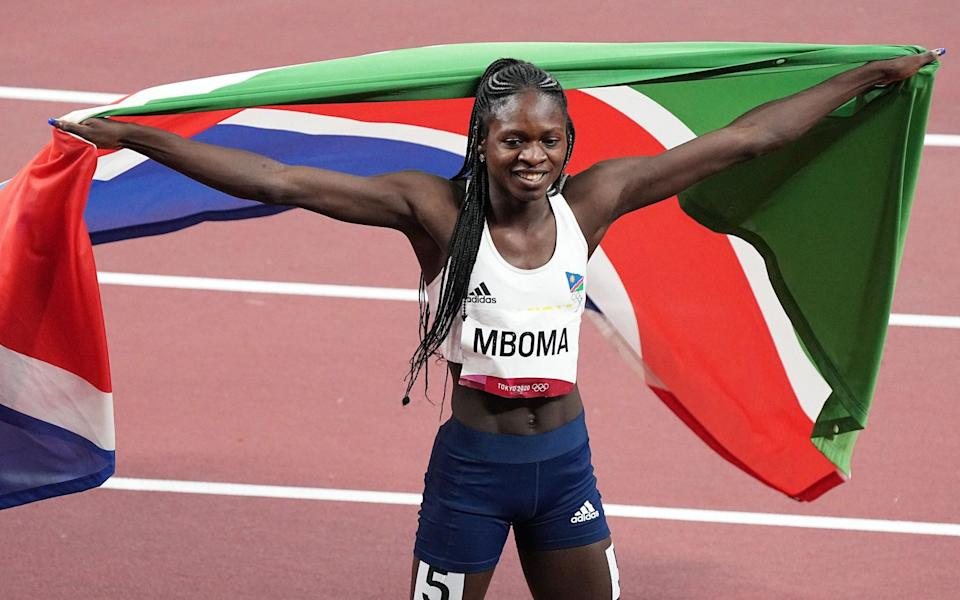 Second placed Christine Mboma of Namibia celebrates after the Women's 200m final - Shutterstock