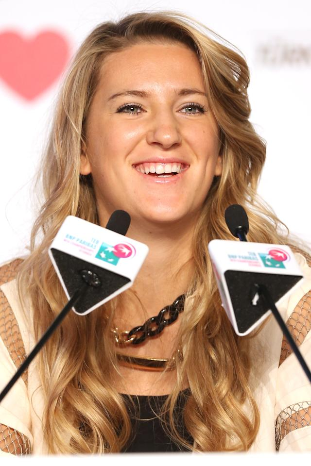 ISTANBUL, TURKEY - OCTOBER 21: Victoria Azarenka of Belarus fields questions from the media at the WTA All Access Hour before the start of the WTA Championships at the Renaissance Polat Hotel on October 21, 2013 in Istanbul, Turkey. (Photo by Matthew Stockman/Getty Images)