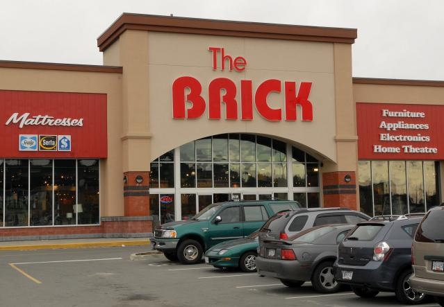 The Brick, a furniture, appliance, electronics and home theatre store in Langford, B.C. Langford is a municipality in the greater Victoria area. (The Canadian Press)