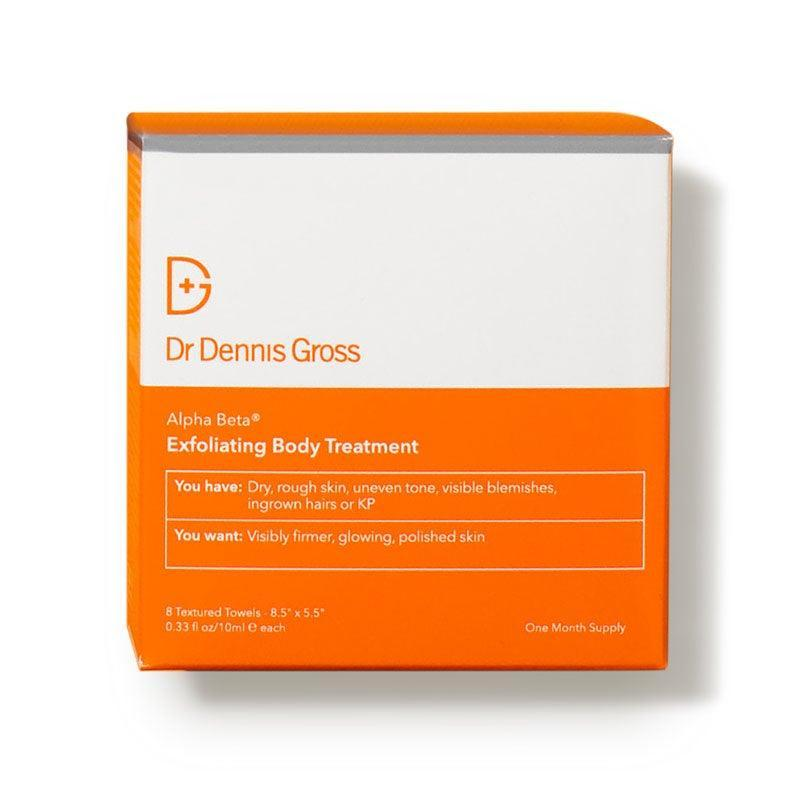 """<h3>Dr. Dennis Gross Alpha Beta Exfoliating Body Treatment</h3><br>Whether you've got dull skin, those little <a href=""""https://www.refinery29.com/en-us/keratosis-pilaris-treatments"""" rel=""""nofollow noopener"""" target=""""_blank"""" data-ylk=""""slk:red bumps (keratosis pilaris)"""" class=""""link rapid-noclick-resp"""">red bumps (keratosis pilaris)</a>, or ingrown hairs, the occasional chemical peel can benefit your bod just like it does your face. These exfoliating wipes, which can be used once or twice a week, combine glycolic, lactic, and salicylic acids to ditch dead skin cells, along with collagen-boosting <a href=""""https://www.refinery29.com/en-us/bakuchiol-natural-retinol-alternative"""" rel=""""nofollow noopener"""" target=""""_blank"""" data-ylk=""""slk:bakuchiol"""" class=""""link rapid-noclick-resp"""">bakuchiol</a>, sometimes referred to as nature's retinol.<br><br><strong>Dr. Dennis Gross</strong> Alpha Beta Exfoliating Body Treatment, $, available at <a href=""""https://go.skimresources.com/?id=30283X879131&url=https%3A%2F%2Fwww.dermstore.com%2Fproduct_Alpha%2BBeta%2BExfoliating%2BBody%2BTreatment_85401.htm"""" rel=""""nofollow noopener"""" target=""""_blank"""" data-ylk=""""slk:DermStore"""" class=""""link rapid-noclick-resp"""">DermStore</a>"""