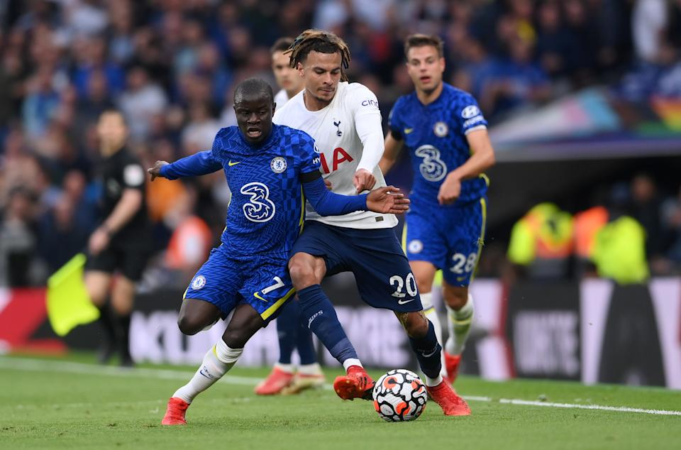 N'Golo Kante of Chelsea (left) and Dele Alli of Tottenham Hotspur battle for possession during their Premier League match.