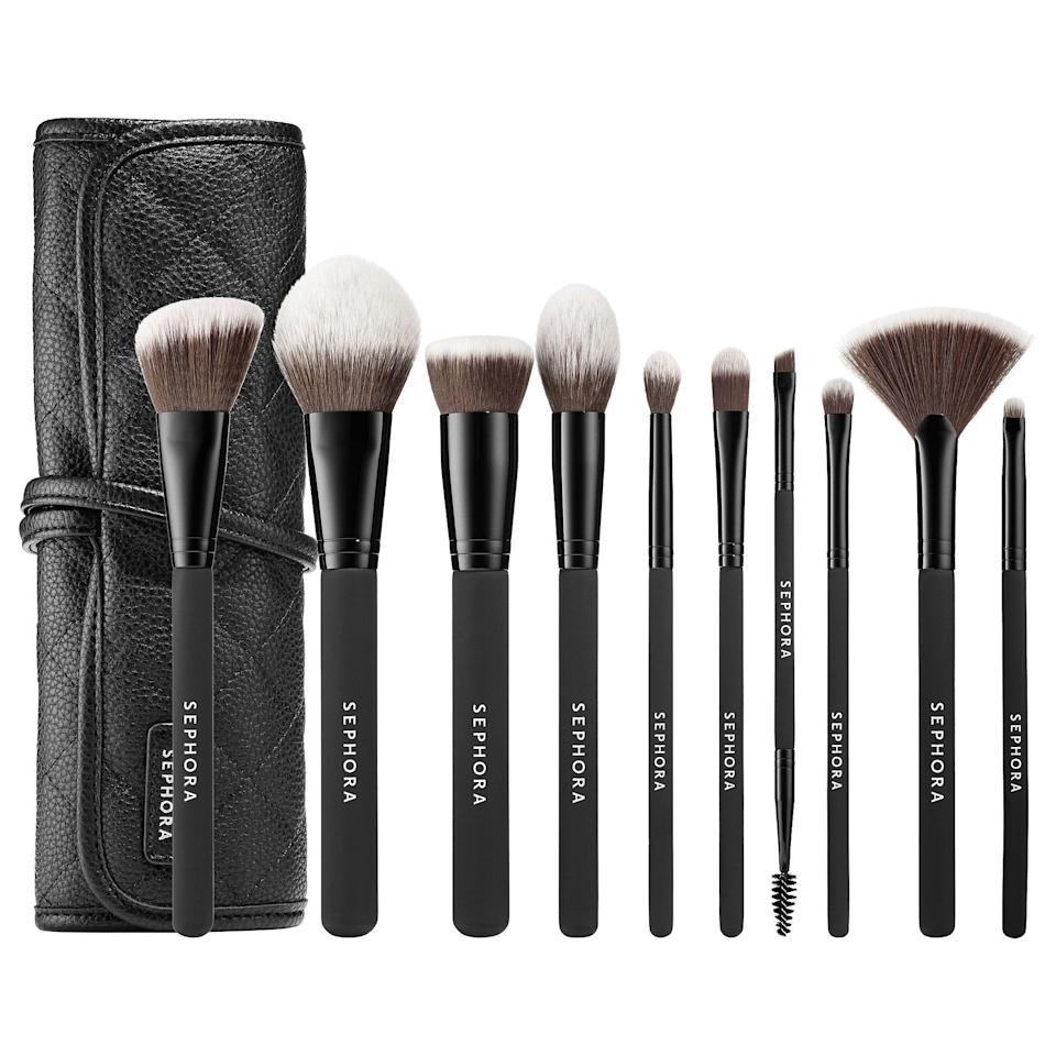 "<p><strong>SEPHORA COLLECTION</strong></p><p>sephora.com</p><p><strong>$72.00</strong></p><p><a href=""https://go.redirectingat.com?id=74968X1596630&url=https%3A%2F%2Fwww.sephora.com%2Fproduct%2Fready-to-roll-brush-set-P420011&sref=https%3A%2F%2Fwww.redbookmag.com%2Fbeauty%2Fg34587516%2Fsephora-beauty-gifts%2F"" rel=""nofollow noopener"" target=""_blank"" data-ylk=""slk:Shop Now"" class=""link rapid-noclick-resp"">Shop Now</a></p><p>If you're nervous about buying actual products, then buy the makeup lover in your life a new set of brushes - they can probably use them. This Sephora Collection set comes with 10 brushes that will come in handy every single day, all placed inside a convenient roll-up pouch. </p>"