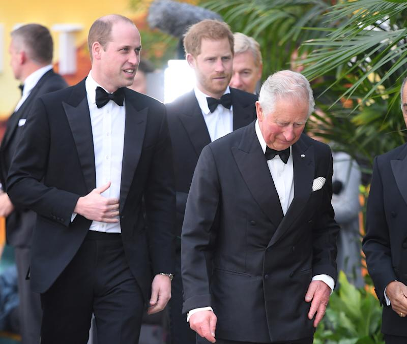 "LONDON, ENGLAND - APRIL 04: (L-R) Prince William, Duke of Cambridge, Prince Harry, Duke of Sussex and Prince Charles, Prince of Wales attend the ""Our Planet"" global premiere at Natural History Museum on April 04, 2019 in London, England. (Photo by Karwai Tang/WireImage)"