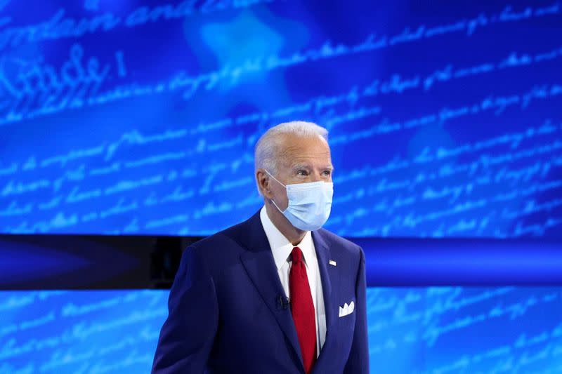 FILE PHOTO: U.S. Democratic presidential candidate Joe Biden participates in an ABC Town Hall event at the National Constitution Center in Philadelphia