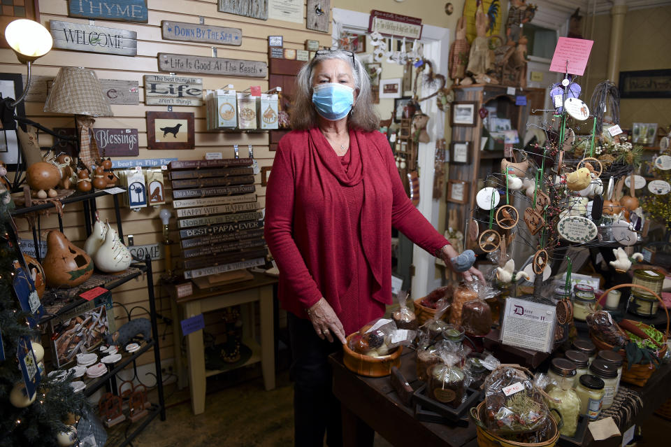 Boyertown, PA - February 4: Patsy Hahn, owner of Patsy's Potpourri of Gifts in her shop. At Patsy's Potpourri of Gifts in Boyertown Thursday afternoon February 4, 2021. Patsy Hahn, the owner, is retiring and the shop will be closing. (Photo by Ben Hasty/MediaNews Group/Reading Eagle via Getty Images)
