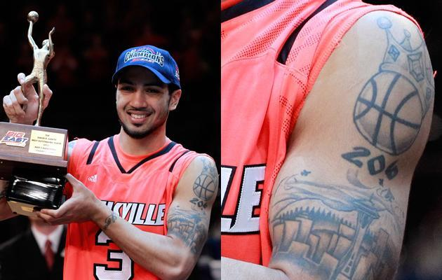 NEW YORK, NY - MARCH 10: Peyton Siva #3 of the Louisville Cardinals holds up his MVP trophy after defeating the Cincinnati Bearcats during the finals of the Big East Men's Basketball Tournament at Madison Square Garden at Madison Square Garden on March 10, 2012 in New York City. (Photo by Chris Trotman/Getty Images)