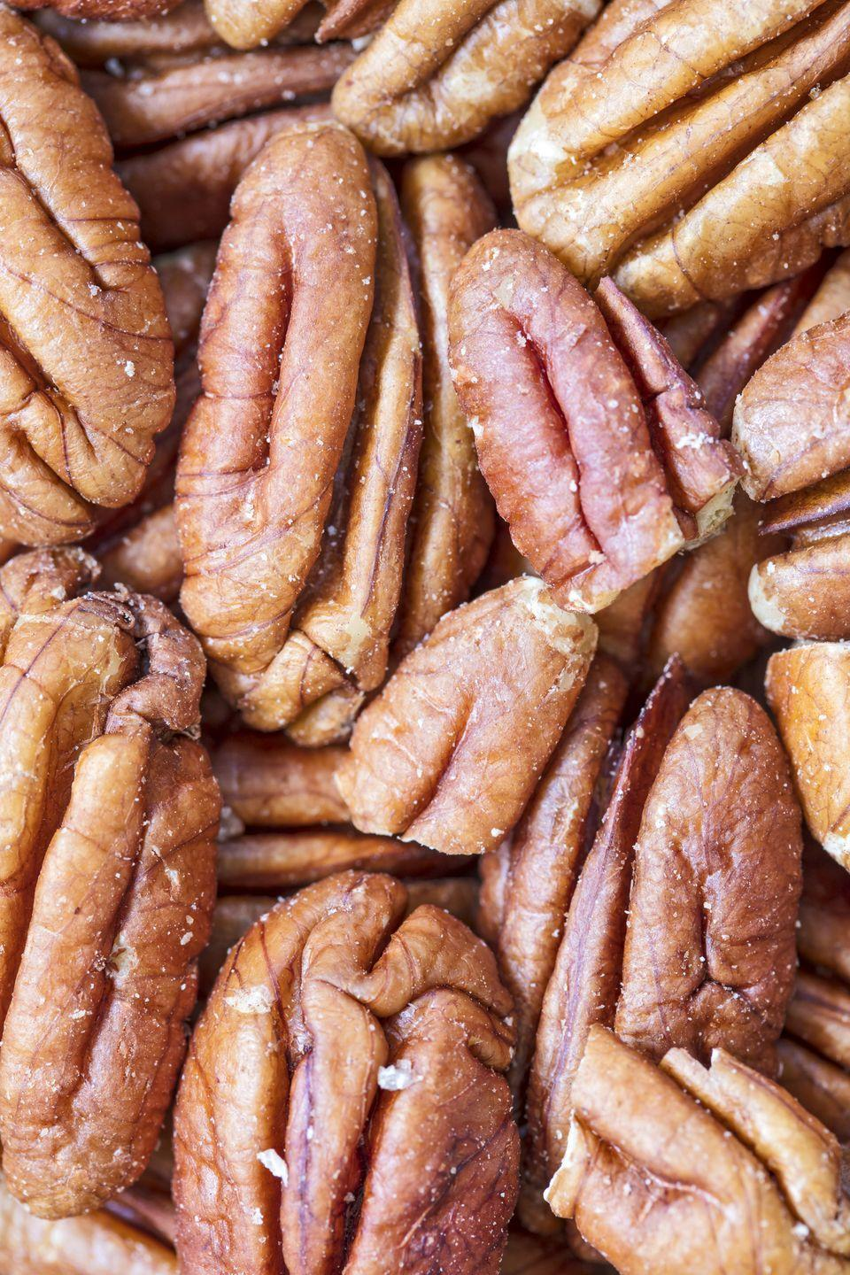 "<p>Pecans are chock-full of <a href=""https://www.goodhousekeeping.com/health/diet-nutrition/a47166/health-benefits-of-pecans/"" rel=""nofollow noopener"" target=""_blank"" data-ylk=""slk:monounsaturated fatty acids"" class=""link rapid-noclick-resp"">monounsaturated fatty acids</a>, a type of fat linked with improving total cholesterol levels. Another benefit of these tasty tree nuts: Pecans are filled with plant-based antioxidants — including beta carotene and vitamin E — that protect cells from damage from chronic inflammation.</p>"