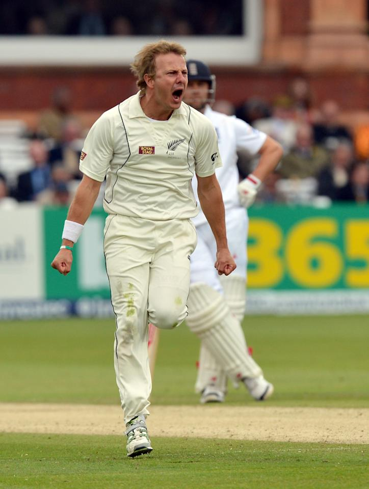 New Zealand's Neil Wagner celebrates taking the wicket of England's Nick Compton during the first test at Lord's Cricket Ground, London.