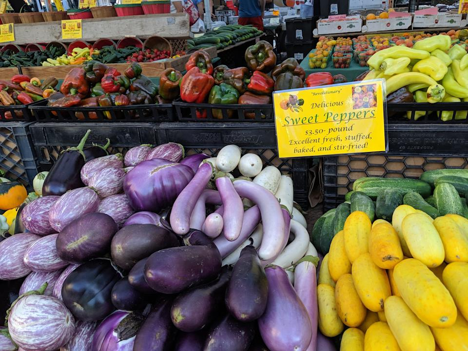 The Union Square Greenmarket is one of 142 farmers markets citywide, all of which accept Health Bucks. Three nearby pharmacies participate in the Pharmacy to Farm program to dispense fruit and vegetable prescriptions to New Yorkers with high blood pressure. (Photo: Amanda Schupak)