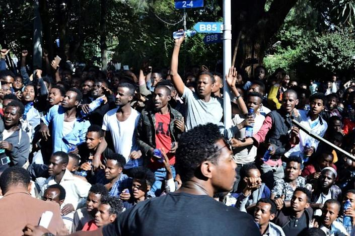The unrest was triggered when media mogul Jawar Mohammed, an Oromo activist, claimed that security forces had plotted an attack against him. Shown here are supporters at a rally outside his home (AFP Photo/STRINGER)