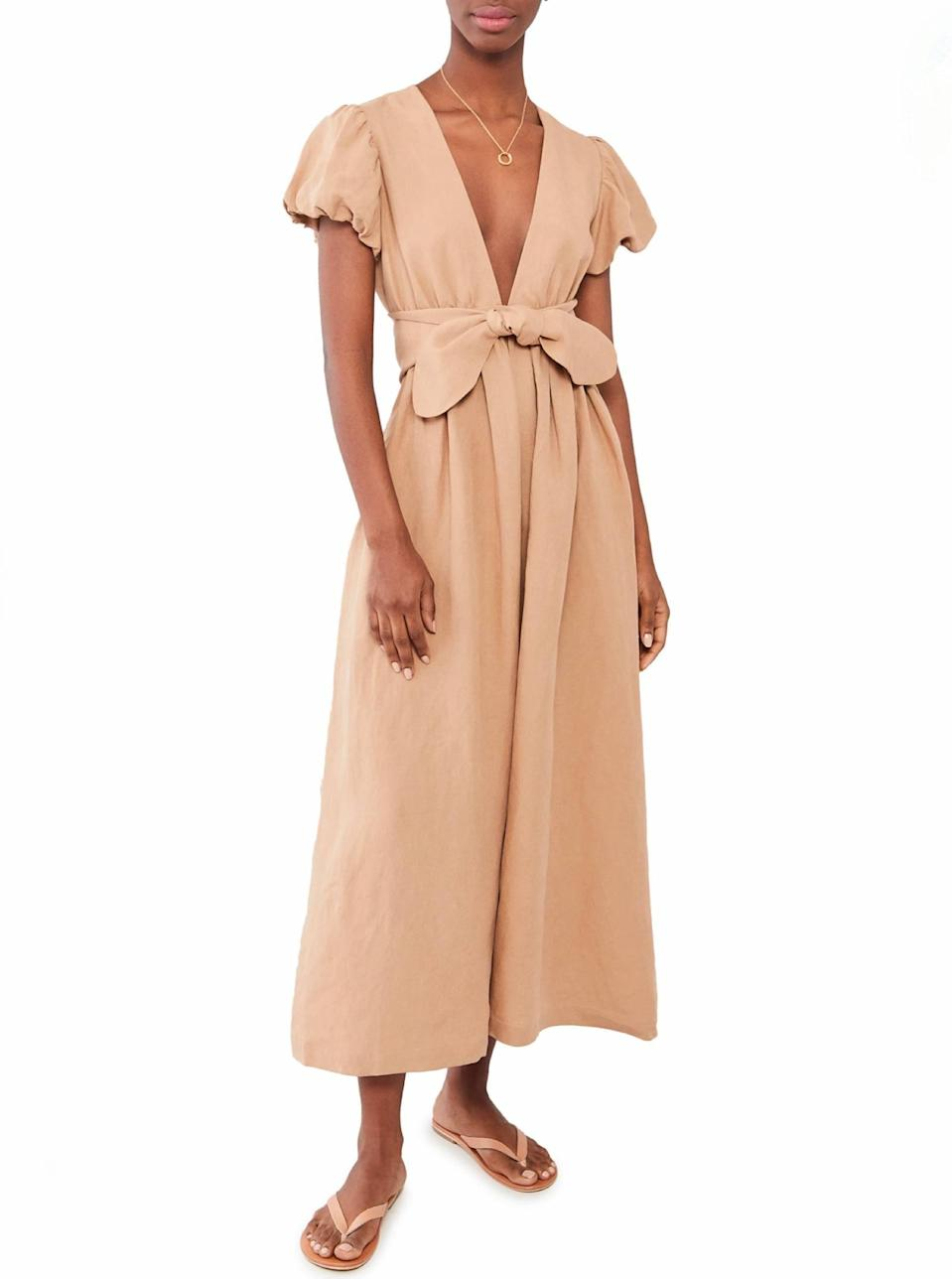 """Mara Hoffman is another sustainable brand doing the work, and the designer has so many effortlessly chic dresses and <a href=""""https://www.glamour.com/story/best-swimsuit-brands?mbid=synd_yahoo_rss"""" rel=""""nofollow noopener"""" target=""""_blank"""" data-ylk=""""slk:swimsuits"""" class=""""link rapid-noclick-resp"""">swimsuits</a> to choose from. Can you think of a summer activity this sandstone V-neck number wouldn't be fit for? Us either. $450, Shopbop. <a href=""""https://www.shopbop.com/savannah-dress-mara-hoffman/vp/v=1/1585099276.htm?"""" rel=""""nofollow noopener"""" target=""""_blank"""" data-ylk=""""slk:Get it now!"""" class=""""link rapid-noclick-resp"""">Get it now!</a>"""