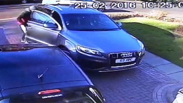 The two robbers flee in the stolen car. Photo: UK Police
