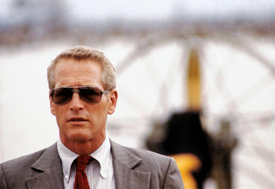 <p>Paul Newman during the filming of <em>The Drowning Pool</em> in Louisiana in 1975. He's on an airboat, the back of which is in the background. </p>