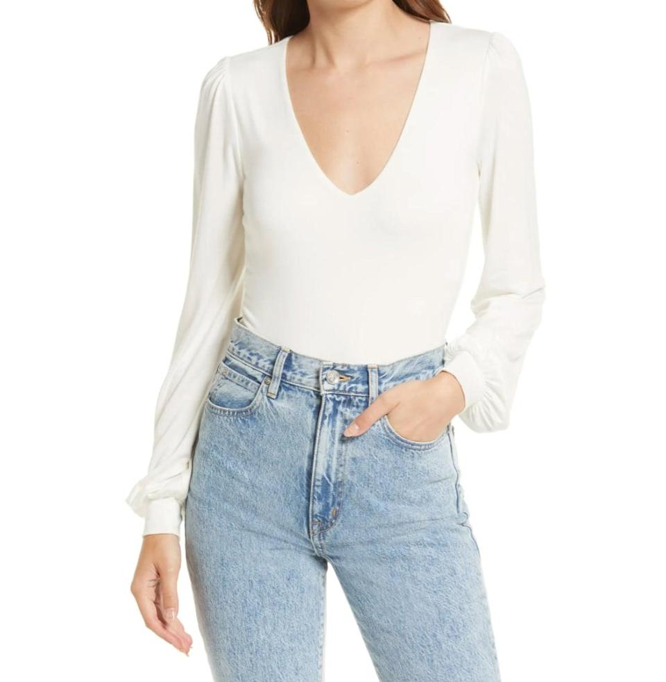 <p>Pro tip: slip this <span>Lulus Kaylene Long Sleeve Bodysuit</span> ($38) under a pair of jeans, and everyone will think you mastered the perfect tuck. (But in reality? You just bought a bodysuit.)</p>