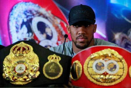 Boxing - Anthony Joshua & Jarrell Miller Press Conference - Hilton London Syon Park, London, Britain - February 25, 2019 Anthony Joshua during the press conference Action Images via Reuters/Andrew Couldridge