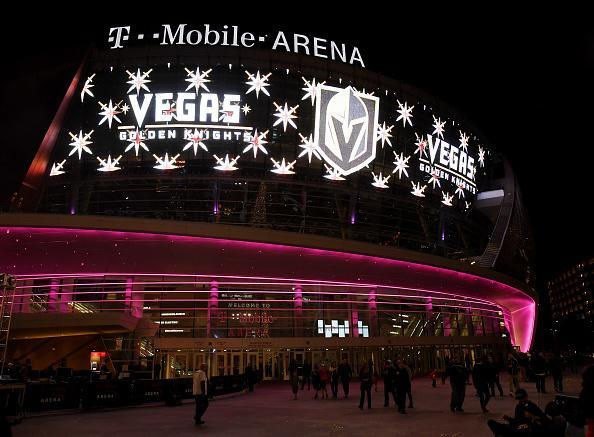 The team name and logo for the Vegas Golden Knights are displayed on T-Mobile Arena's video mesh wall after being announced as the name for the Las Vegas NHL franchise at T-Mobile Arena on November 22, 2016 in Las Vegas, Nevada. The team will begin play in the 2017-18 season. (Photo by Ethan Miller/Getty Images)