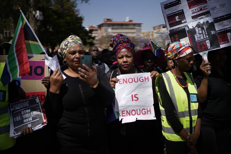 South African women take part in a protest against gender based violence in Pretoria, South Africa, Friday, Sep. 27, 2019. The march by civil servants was organized by the South Africa government .Earlier in the month, Femicide was declared a national crisis. (AP Photo/Jerome Delay)