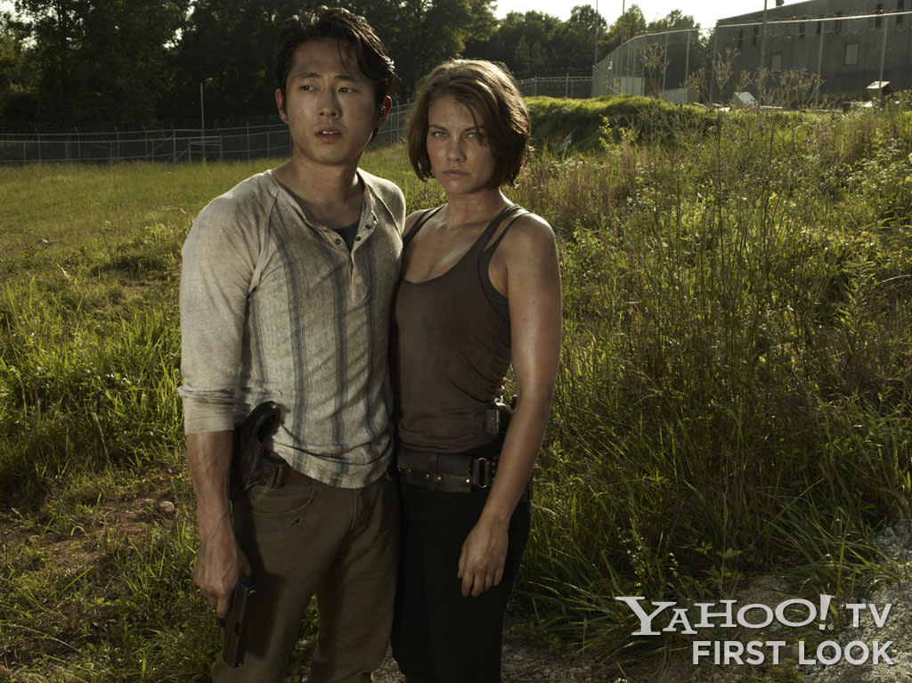 "Glenn (Steven Yeun) and Maggie Greene (Lauren Cohan) in ""The Walking Dead"" Season 3."