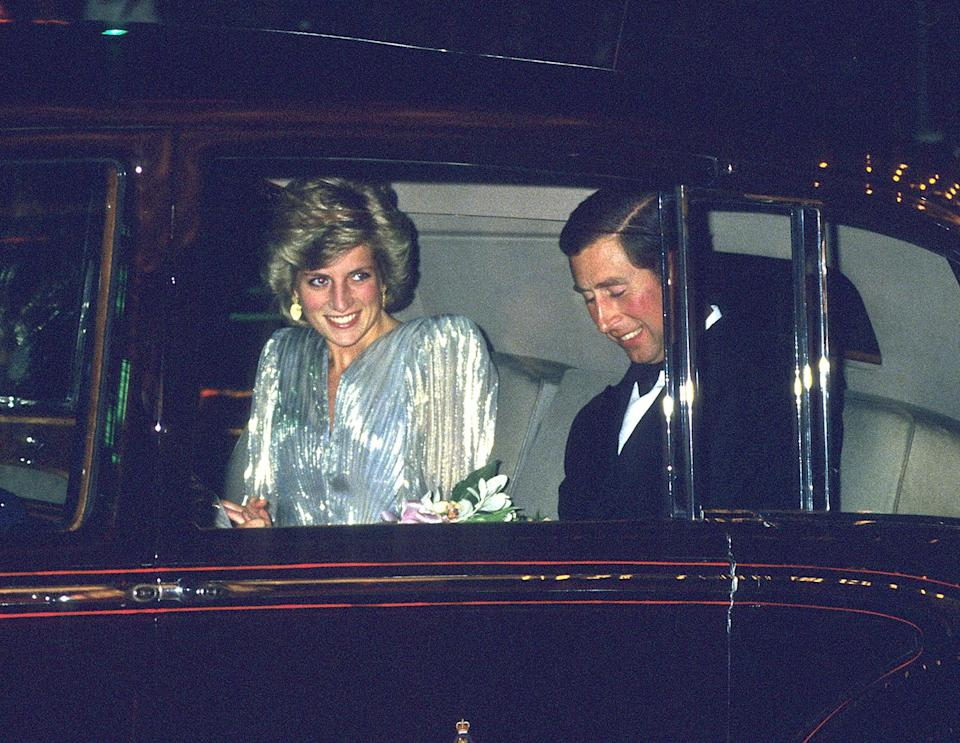 <p>Princess Diana made a statement in a shimmery silver gown while attending the premiere of <em>A View to a Kill </em>with Prince Charles. </p>