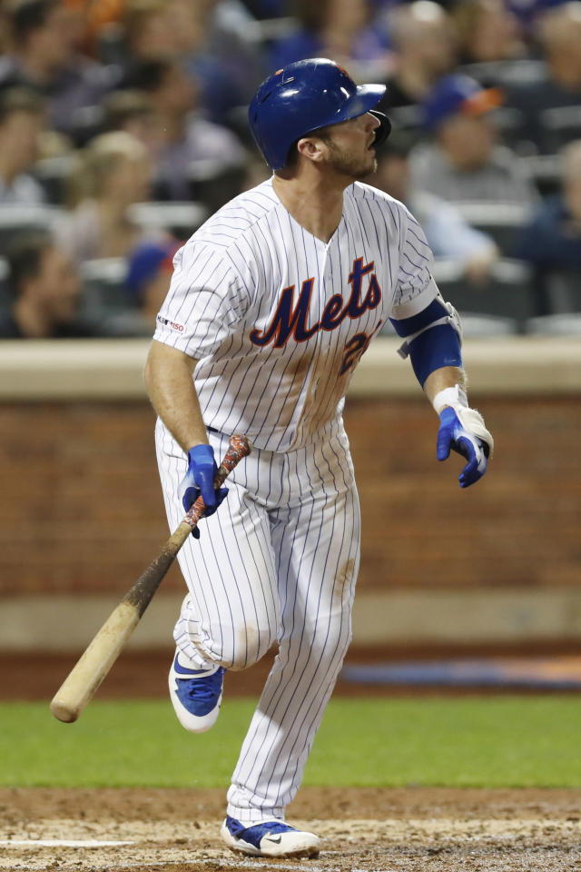 New York Mets' Pete Alonso watches his solo home run during the fifth inning of a baseball game against the Arizona Diamondbacks, Monday, Sept. 9, 2019, in New York. (AP Photo/Kathy Willens)