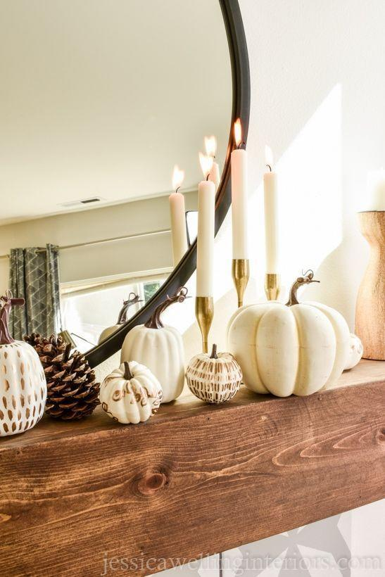 """<p>For a bit of a modern slant on fall décor, craft up a few of these on-trend painted pumpkins using shimmering liquid gold leaf.</p><p><strong>Get the tutorial at <a href=""""https://jessicawellinginteriors.com/pumpkins-diy-fall-decor/"""" rel=""""nofollow noopener"""" target=""""_blank"""" data-ylk=""""slk:Jessica Welling Interiors"""" class=""""link rapid-noclick-resp"""">Jessica Welling Interiors</a>.</strong></p><p><a class=""""link rapid-noclick-resp"""" href=""""https://go.redirectingat.com?id=74968X1596630&url=https%3A%2F%2Fwww.walmart.com%2Fip%2FBluelans-12Pcs-Halloween-DIY-Artificial-Pumpkin-Painting-Props-Ornament-Party-Decoration%2F755498346&sref=https%3A%2F%2Fwww.thepioneerwoman.com%2Fhome-lifestyle%2Fcrafts-diy%2Fg36891743%2Ffall-mantel-decorations%2F"""" rel=""""nofollow noopener"""" target=""""_blank"""" data-ylk=""""slk:SHOP FAUX PUMPKINS"""">SHOP FAUX PUMPKINS</a></p>"""