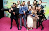 <p>Ezra Miller, who was introduced as The Flash in 'Batman v Superman', gatecrashed a Squad team photo with Jason Momoa.</p>