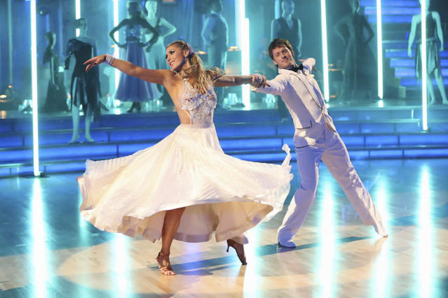 """DANCING WITH THE STARS - """"Episode 1605"""" - Nine remaining couples hit the dance floor and faced an exciting new challenge MONDAY, APRIL 15 (8:00-10:01 p.m., ET). In another first for """"Dancing with the Stars,"""" a new twist called """"Len's Side By Side Challenge"""" tasked each couple to perform a portion of their individual dance alongside a pro dance couple. (ABC/Adam Taylor) EMMA SLATER, TRISTAN MACMANUS"""
