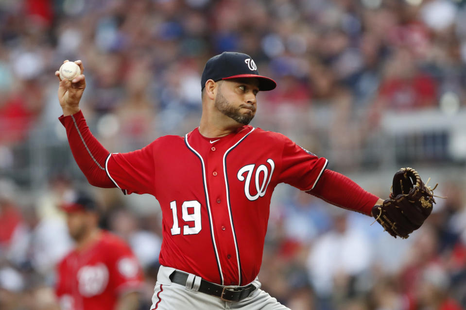 Washington Nationals starting pitcher Anibal Sanchez works in the first inning of a baseball game against the Atlanta Braves Saturday, July 20, 2019, in Atlanta. (AP Photo/John Bazemore)