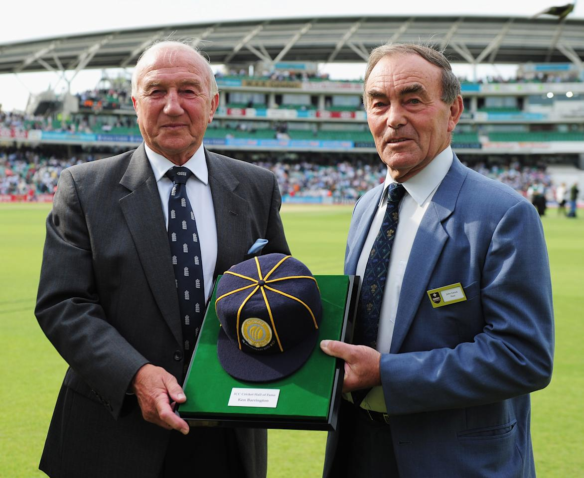 LONDON, ENGLAND - AUGUST 19:  Micky Stewart (L) and John Edrich pose with a commemorative cap as former England batsman Ken Barrington is inducted into the ICC Cricket Hall of Fame during day two of the 4th npower Test Match between England and India at The Kia Oval on August 19, 2011 in London, England.  (Photo by Shaun Botterill/Getty Images)