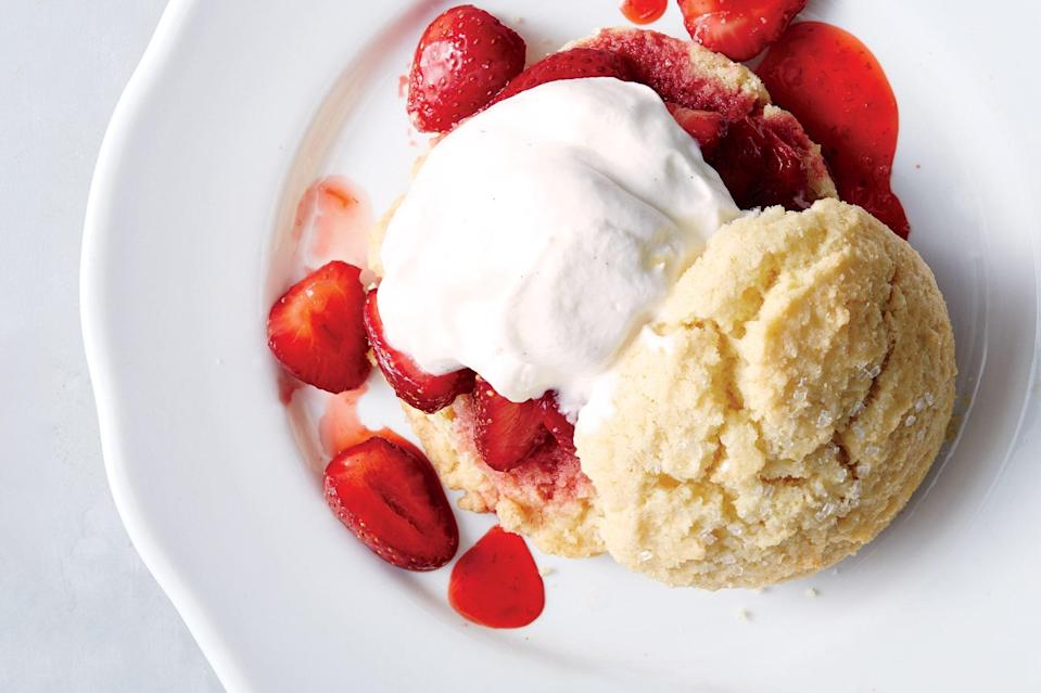 "Layer cooled strawberry compote with fresh, sugared strawberries, a fluffy sweet-cream biscuit, and a veritable cloud of whipped cream for summer's ultimate dessert. <a href=""https://www.epicurious.com/recipes/food/views/bas-best-strawberry-shortcake?mbid=synd_yahoo_rss"" rel=""nofollow noopener"" target=""_blank"" data-ylk=""slk:See recipe."" class=""link rapid-noclick-resp"">See recipe.</a>"