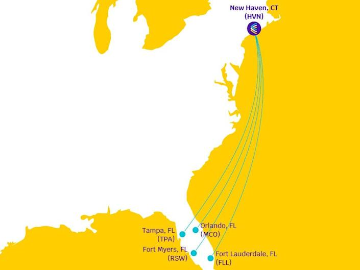 Avelo Airlines route map