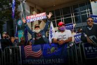 Trump supporters wait for the election results as votes continue to be counted following the 2020 U.S. presidential election, in Philadelphia
