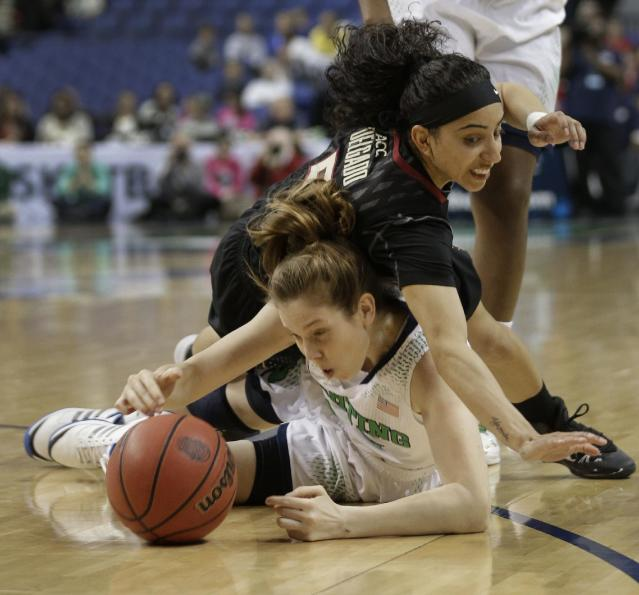 CORRECTS ID OF NOTRE DAME PLAYER TO MADISON CABLE - Florida State's Cheetah Delgado, top, falls on top of Notre Dame's Madison Cable, bottom, as they chase a loose ball during the first half of an NCAA college basketball game at the Atlantic Coast Conference tournament in Greensboro, N.C., Friday, March 7, 2014. (AP Photo/Chuck Burton)