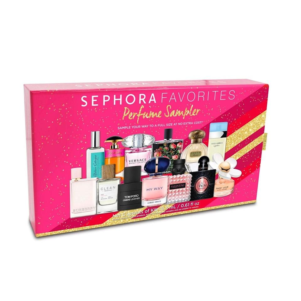 """Unless given explicit instructions, choosing a fragrance for someone else is a nearly impossible task. Instead, go for this kit, which includes (adorable!) sample sizes of Sephora's best-selling fragrances as well as a voucher for whatever full-size bottle they like best. $68, Sephora. <a href=""""https://www.sephora.com/product/sephora-favorites-holiday-perfume-sampler-set-P460786"""" rel=""""nofollow noopener"""" target=""""_blank"""" data-ylk=""""slk:Get it now!"""" class=""""link rapid-noclick-resp"""">Get it now!</a>"""
