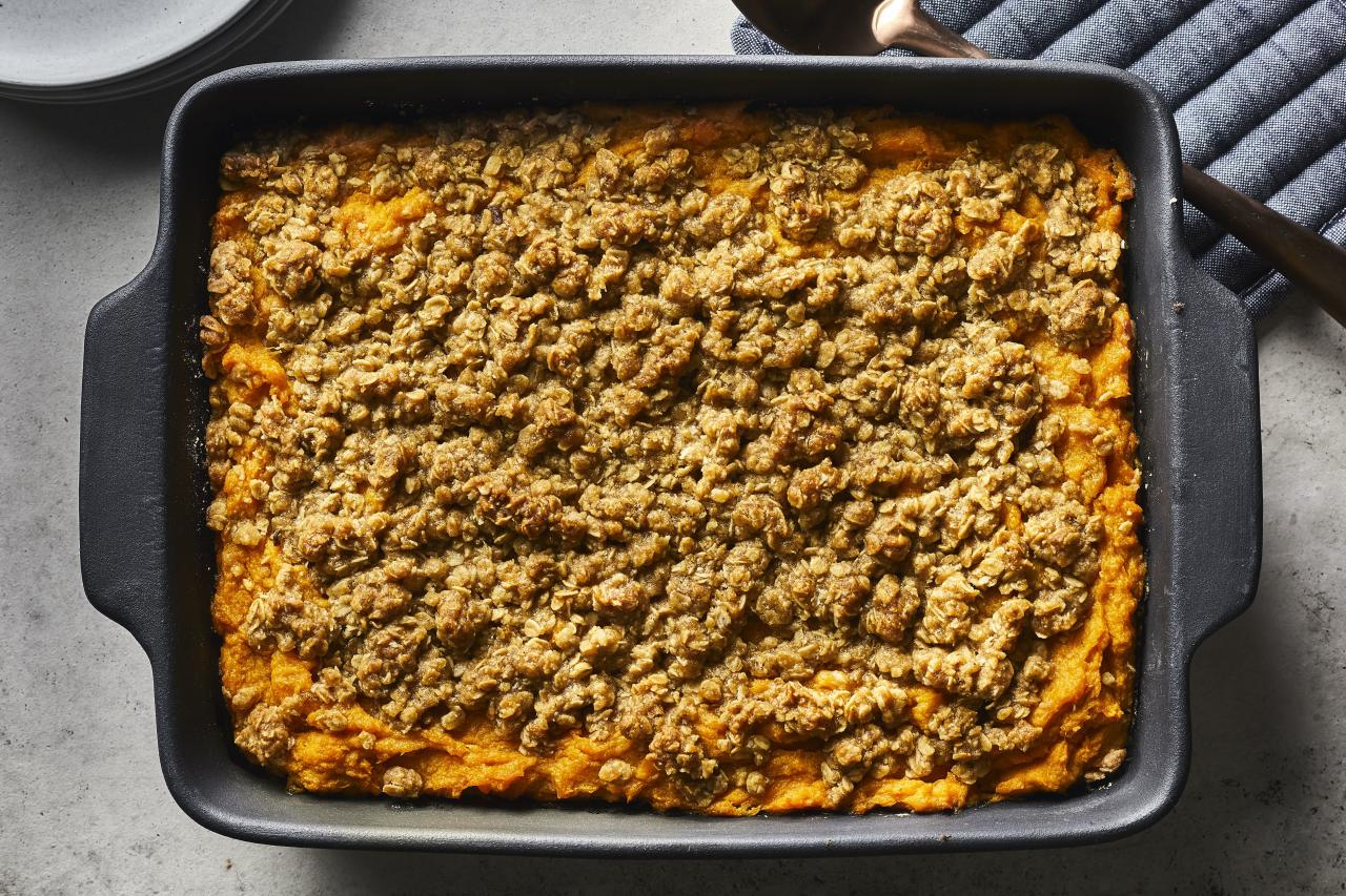 """<p><strong>Recipe: <a href=""""http://southernliving.com/recipes/make-ahead-sweet-potato-casserole"""">Make-Ahead Sweet Potato Casserole</a></strong></p> <p>Because the last thing you should worry about on Thanksgiving Day is creating another dish. Make this sweet dish ahead of time.</p>"""