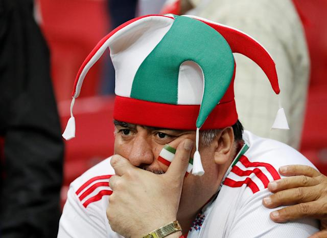 Soccer Football - World Cup - Group B - Iran vs Spain - Kazan Arena, Kazan, Russia - June 20, 2018 Iran fans looks dejected after the match REUTERS/Toru Hanai
