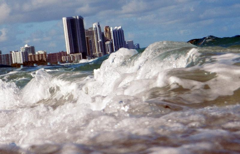 Buildings are seen near the ocean in Miami, Florida on March 14, 2012