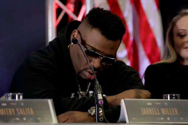 Jarrell Miller was set to take on Anthony Joshua in June. (AP Photo/Matt Dunham)