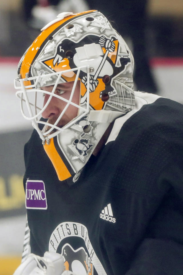 Pittsburgh Penguins goalie Matt Murray looks at the play ahead of him during NHL hockey practice on the team's first day of training camp, Friday, Sept. 13, 2019, in Cranberry Township, Butler County, Pa. (AP Photo/Keith Srakocic)