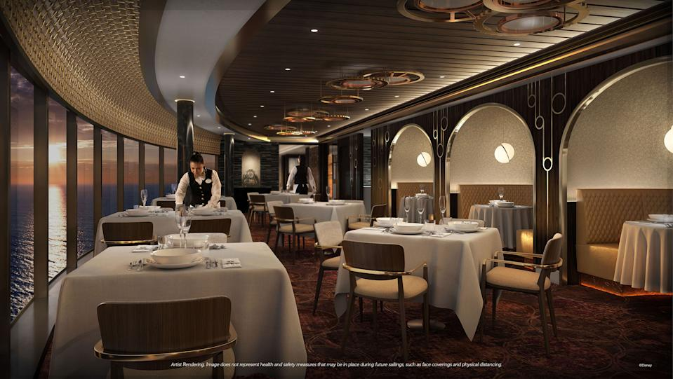 <p>Palo Steakhouse is an evolution of the Palo restaurant that Disney cruisers know and love, now combining the relaxed sophistication of authentic Italian dining with the classic refinement of a modern steakhouse in a genteel setting inspired by Cogsworth, the tale's majordomo-turned-enchanted- clock. (Disney)</p>