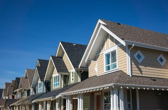 Newly built houses in a row.