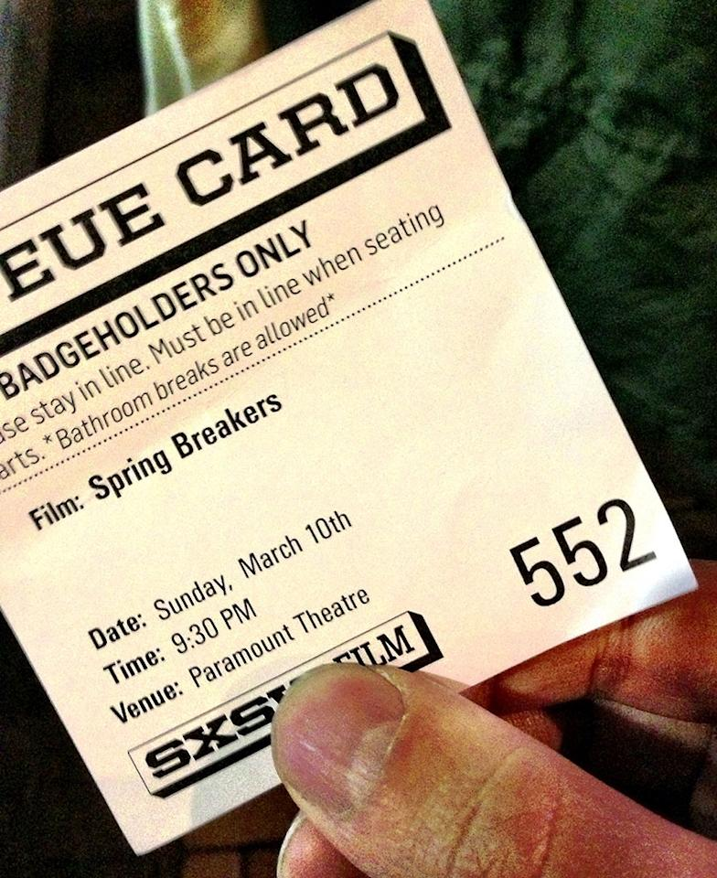 552nd in line for Spring Breakers. #sxsw