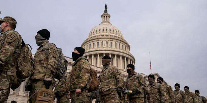 National Guard members outside the US Capitol building.
