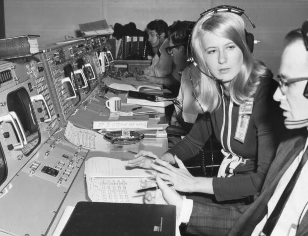 Poppy Northcutt was the only woman at NASA Mission Control during the Apollo flights. (TRW / PhotoQuest / Getty Images via National Geographic)