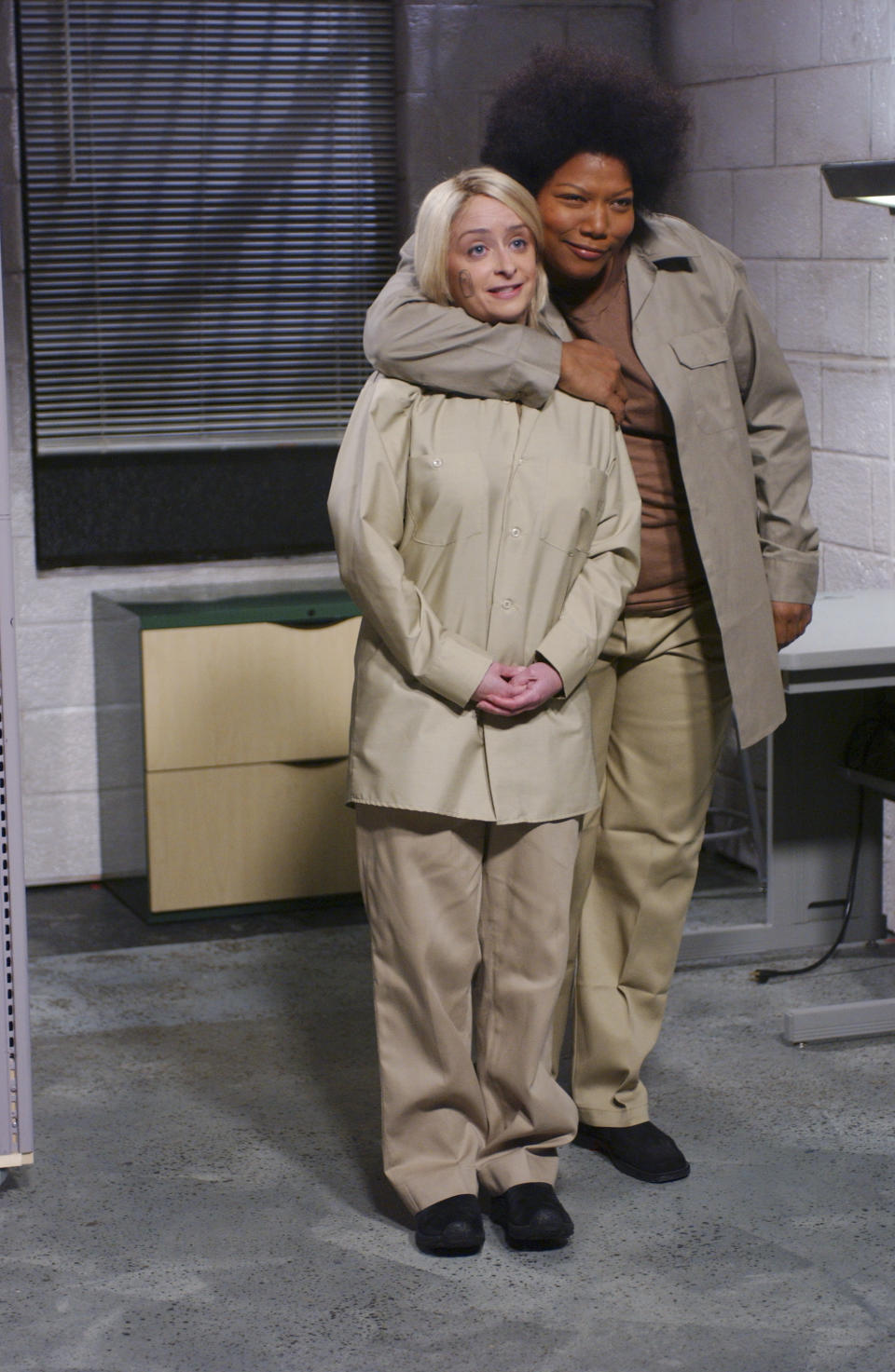 """SATURDAY NIGHT LIVE -- Episode 2 -- Aired 10/09/2004 -- Pictured: (l-r) Rachel Dratch as Martha Stewart, Queen Latifah as Kinyata Williams during """"Weekend Update""""  (Photo by Mary Ellen Matthews/NBCU Photo Bank/NBCUniversal via Getty Images via Getty Images)"""