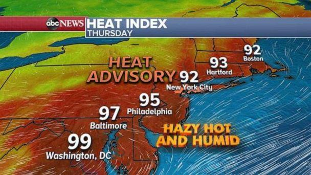 PHOTO: The Northeast corridor will be hot, hazy and humid throughout the day. (ABC News)