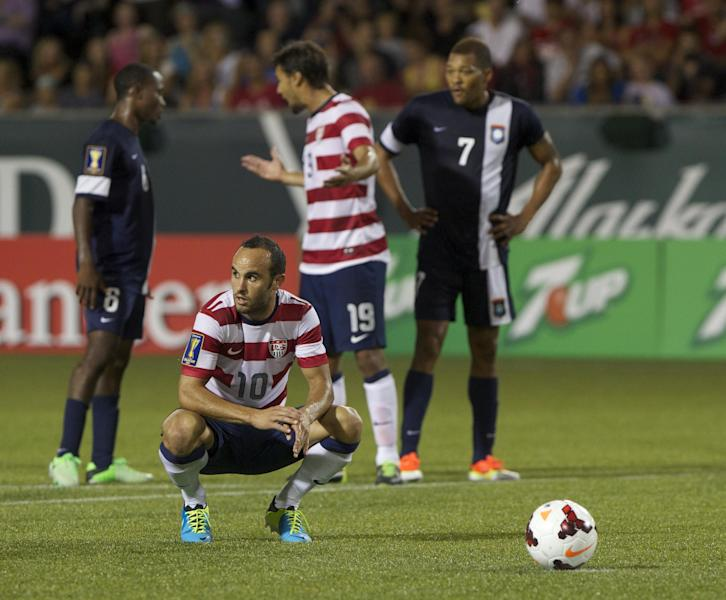 USA's Landon Donovan (10) waits to shoot a penalty kick against Belize in CONCACAF Gold Cup soccer match at Jeld-Wen Field in Portland Tuesday night July 9, 2013. (AP Photo/The Oregonian, Randy L. Rasmussen)